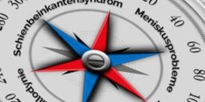 Bild des Gesichtes eines Kompasses mit blauen und roten Nadeln